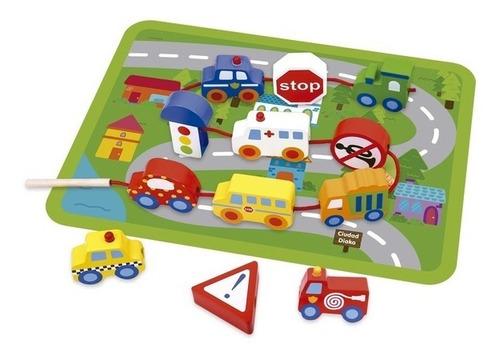 carritos ensarte teje ciudad de juguete madera