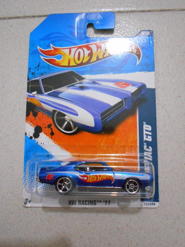 carro a escala hotwheels 69 pontiac gto hw racing