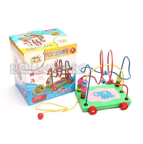 carro arrastre motricidad elefante juguete didáctico madera