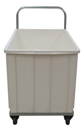 carro baixo transporte + caixa plástica branca 293 litros
