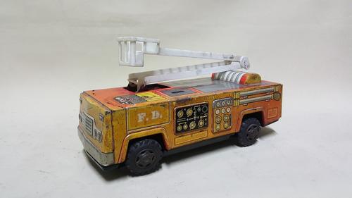 carro de bomberos antiguo en hojalata trade mark japan