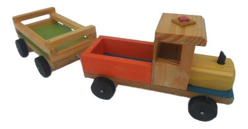 carro de madera niños adorno o juguete artesanía hogar
