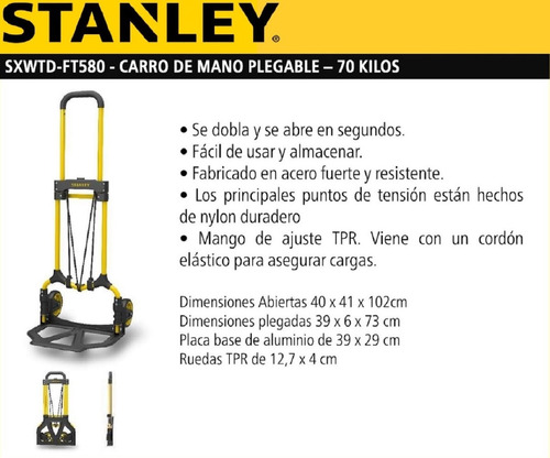 carro de mano plegable stanley ft580 zorra hasta 70 kg.