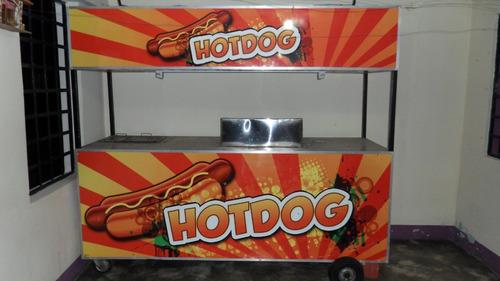 carro de perro caliente y hamburguesa