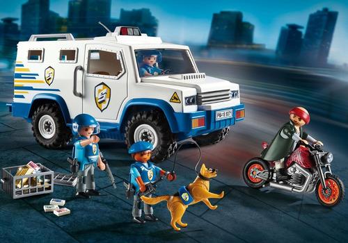 carro forte da polícia c/ policiais e bandido playmobil 9371