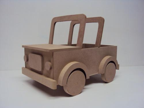 carro jipe safari de madeira enfeite centro mesa festa 30 cm