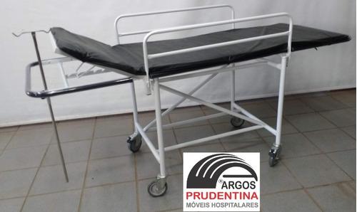 carro maca padiola hospitalar c/ para-choque, suporte soro