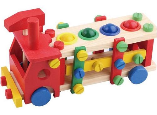 carro madera herramientas juguete didáctico colores y formas