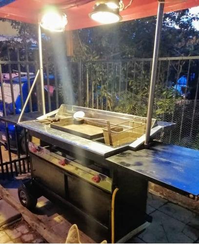 carro para comida con 3 estaciones para cocinar