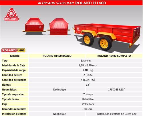 carro para cuatriciclo 2 ejes balancin roland h1400, trailer