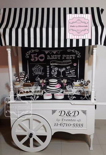 carro para golosinas - candy bar - boda - 15 años - alquiler