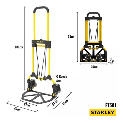 carro plegable para escalera stanley ft581 zorra hasta 60 kg