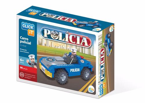 carro policial, 98 peças.bloco de montar click it lego