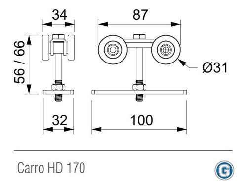 carro roma para riel de portón corredizo art 170 gramabi 4 ruedas de acero soporta 130 kg. carrito