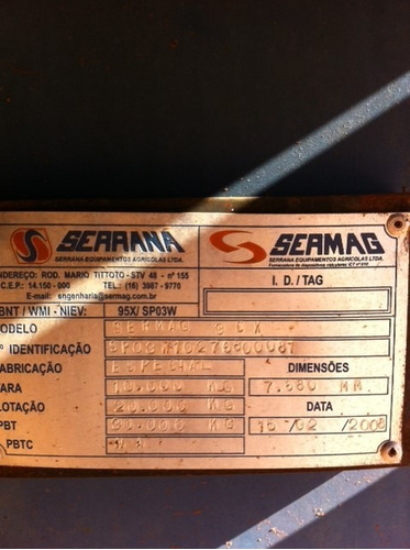 carroceria  transbordo de cana ano 2008 sermag r$ 30.000.