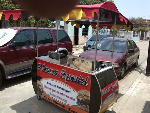 carros de perro caliente, hamburguesa, cachapa, arepa