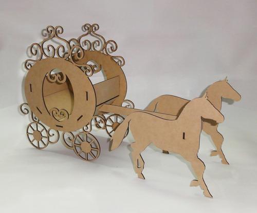 carroza carruaje con caballos princesa candy bar fibrofacil