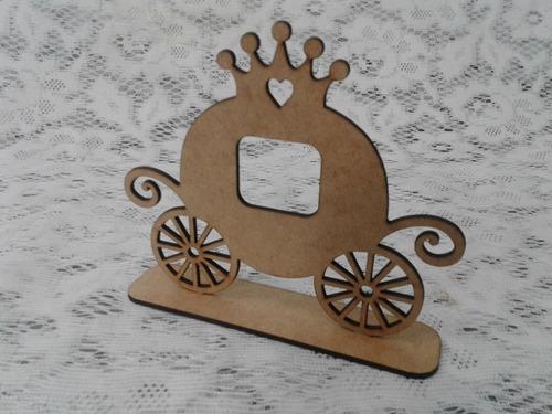 carruagem centro de mesa enfeite mdf cru princesa festa m01
