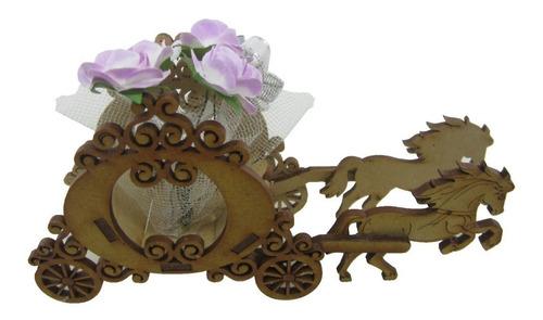 carruaje recordatorio para matrimonio en madera