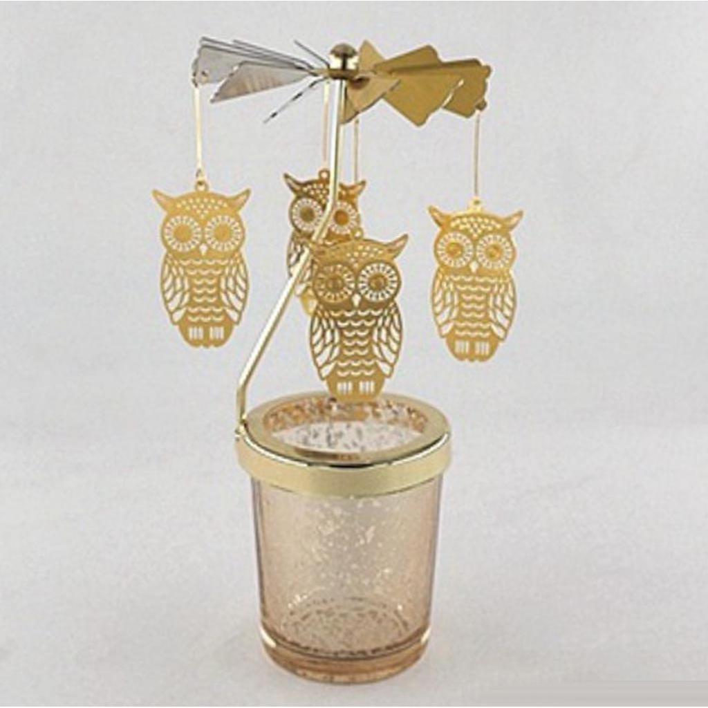 Fenteer Carrusel Candelitas Giratorias Tealight Vela Rom/ántica Noche De Oro Regalos Creativos L/ámpara Decorativa Navide/ña Alce