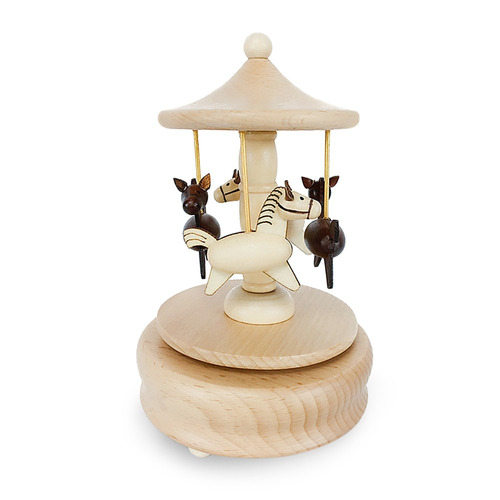 carrusel giratorio de madera music box juguete decoración r
