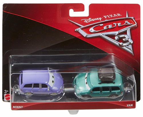 cars 3 disney pixar - minny van (2-pack), escala 1:55