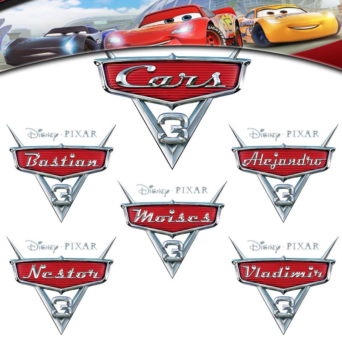 Cars 3 Logo Personalizado Para Niño / Topper