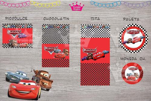 cars golosinas personalizadas etiquetas candy bar x100