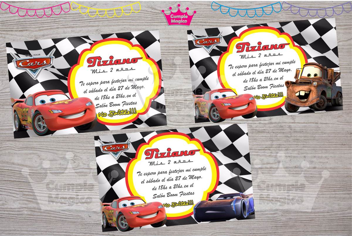 Cars Invitaciones Tarjetas Cumpleaños Personalizadas X20