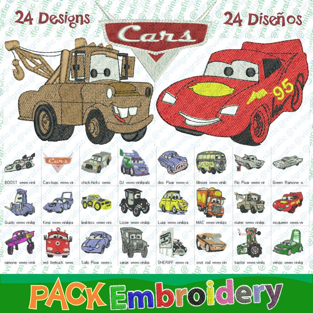 Cars Kit De 24 Diseños Bordados Costura Patrones - $ 13.000 en ...