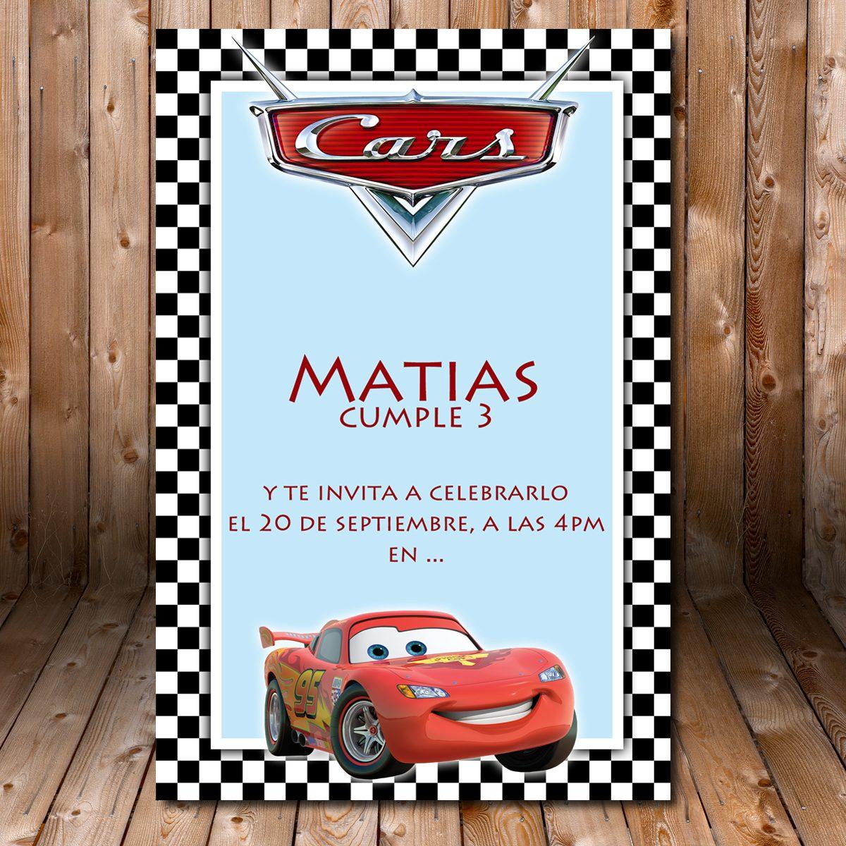 Cars Tarjeta Invitacion Imprimible Cumpleaños