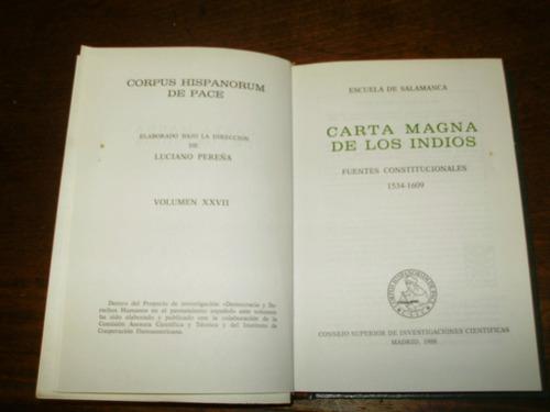 carta magna de los indios escuela de salamanca españa 1988
