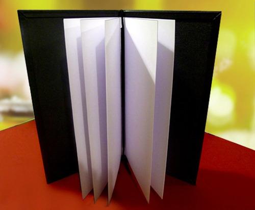 carta menu tapa dura similcuero cosido formato angosto stock