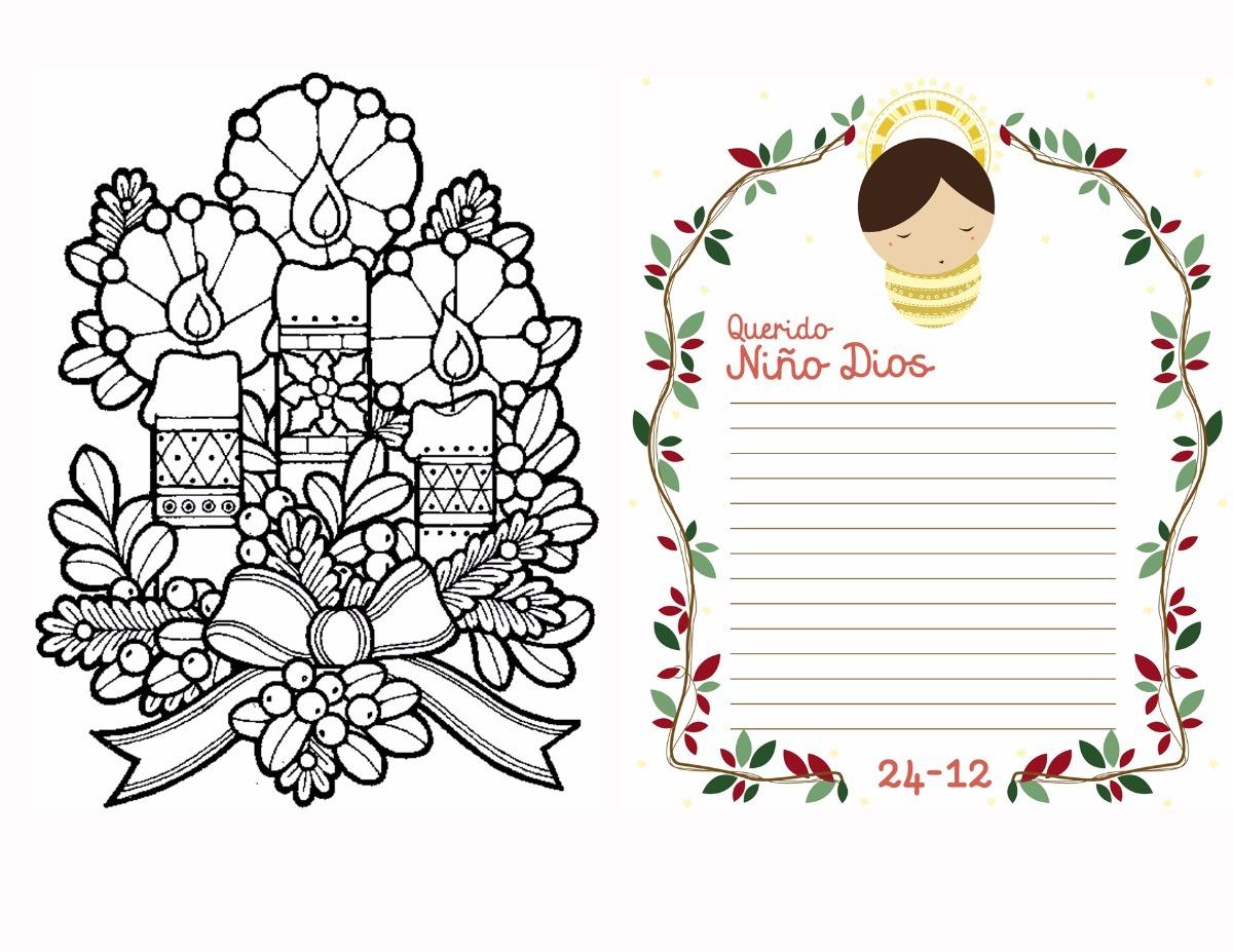 Carta Niño Jesus Navidad Para Colorear Personalizado Bs 1500 En