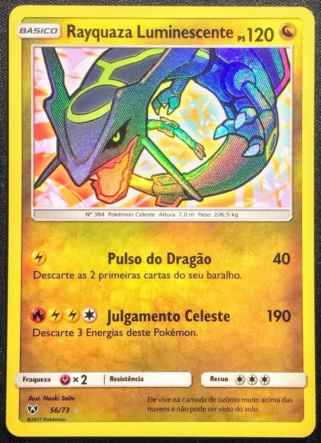 Carta Pokémon Rayquaza Luminescente / Shiny 56/73
