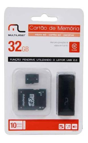 cartao 32gb micro sd com  adaptador 3x1 cl10 un multilaser