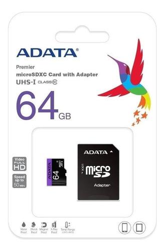 cartao adata microsdxc 64gb uhs-ii u3 cl10 c/adapt
