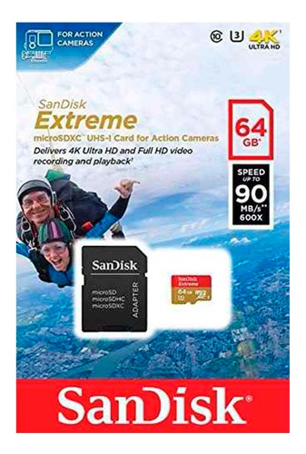 cartao de memoria microsd - sandisk extreme 64gb 100 mb/s u3