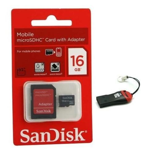 cartao de memória sandisk micro sd 16gb + leitor 2 unidades