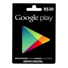 Cartão Google Play Store Gift Card R$ 30 Reais Br Android