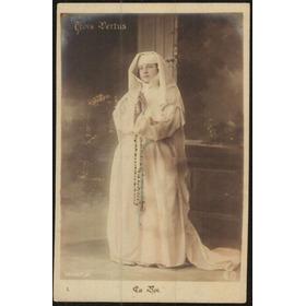 Cartão Postal Antigo Tematico As Tres Virtudes A Fé