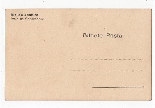 cartao postal copacabana praia e hotel - rj - anos 30