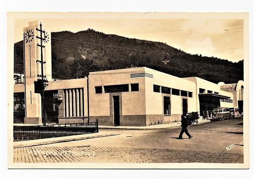 cartao postal estação ferroviaria - petropolis - rj  anos 50