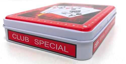 cartas baralho plastico duplo com estojo caixa em lata pk808