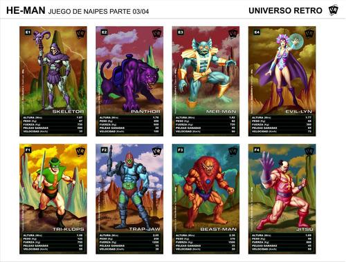 cartas he-man naipes motu universo retro filmation skeletor