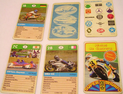 cartas naipes motos de carrera (super triunfo) - original