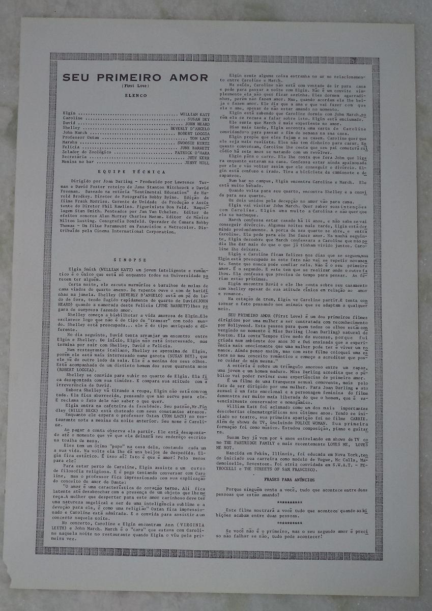 Cartazetesinopse Seu Primeiro Amor Leia Descrição R 1800 Em