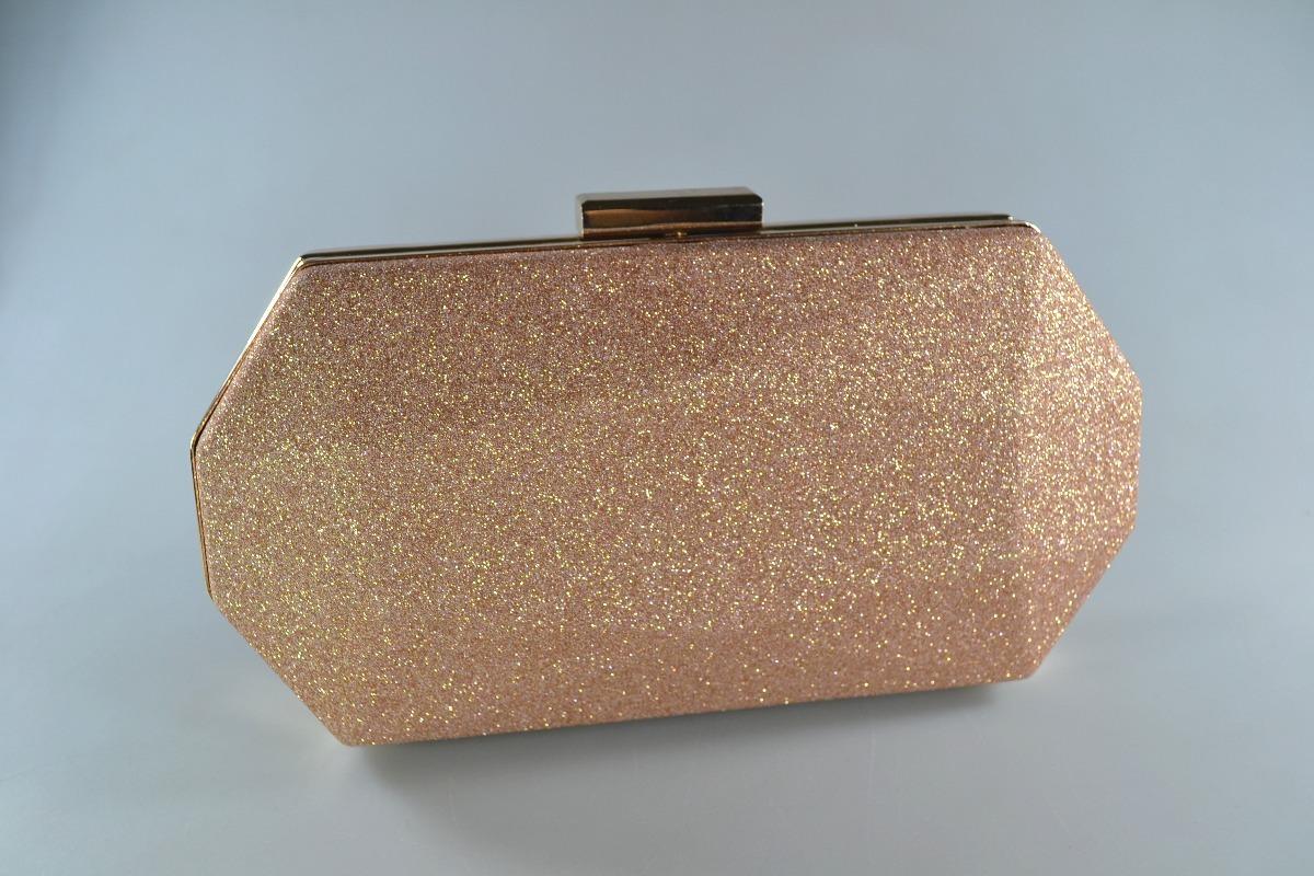 2a03d72ae Carteira Bolsa Clutch Festa Gliter Linda Rosé Ouro Rosajh-55 - R$ 79 ...