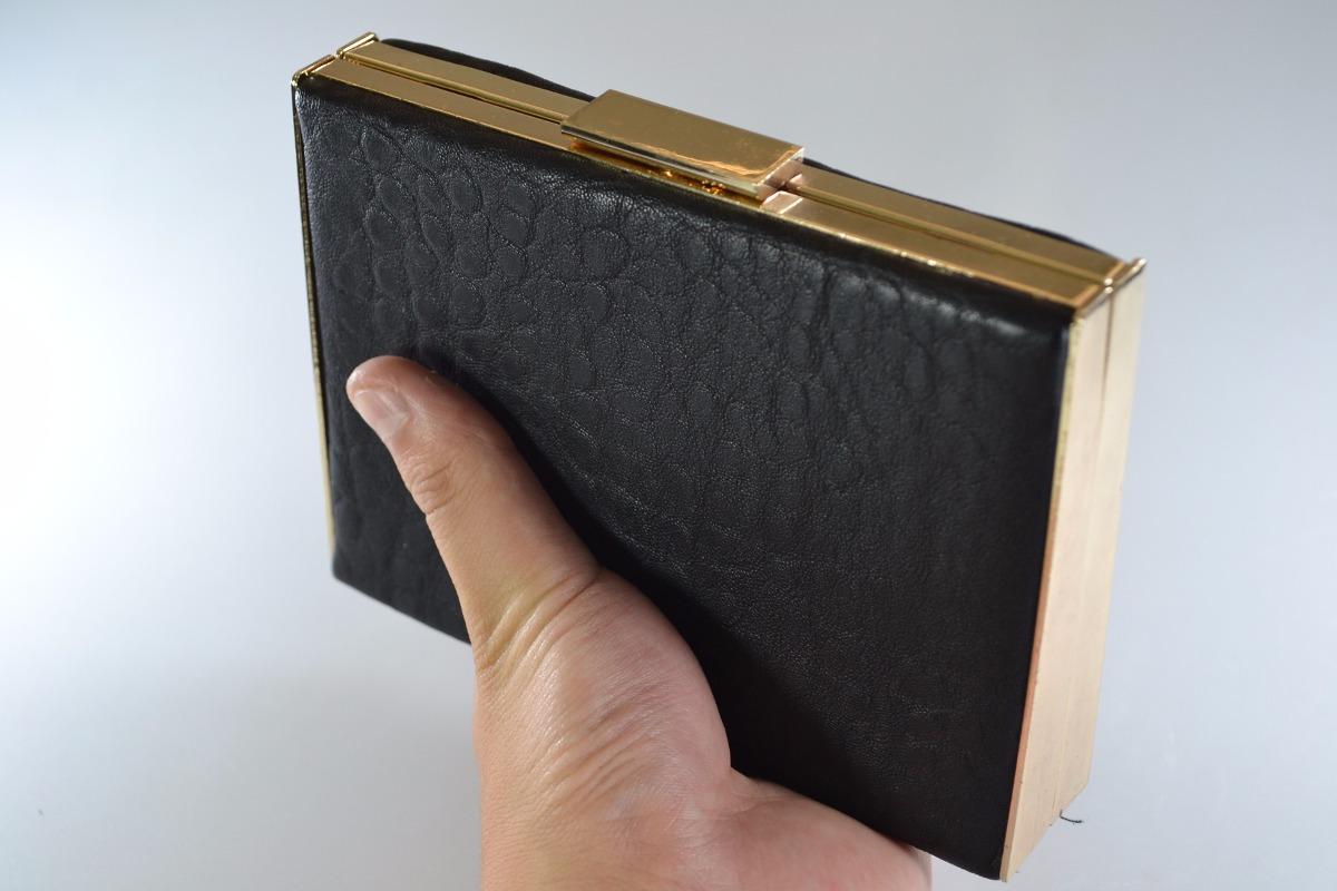 47a188156 carteira bolsa clutch festa pu metal preta dourada. Carregando zoom.