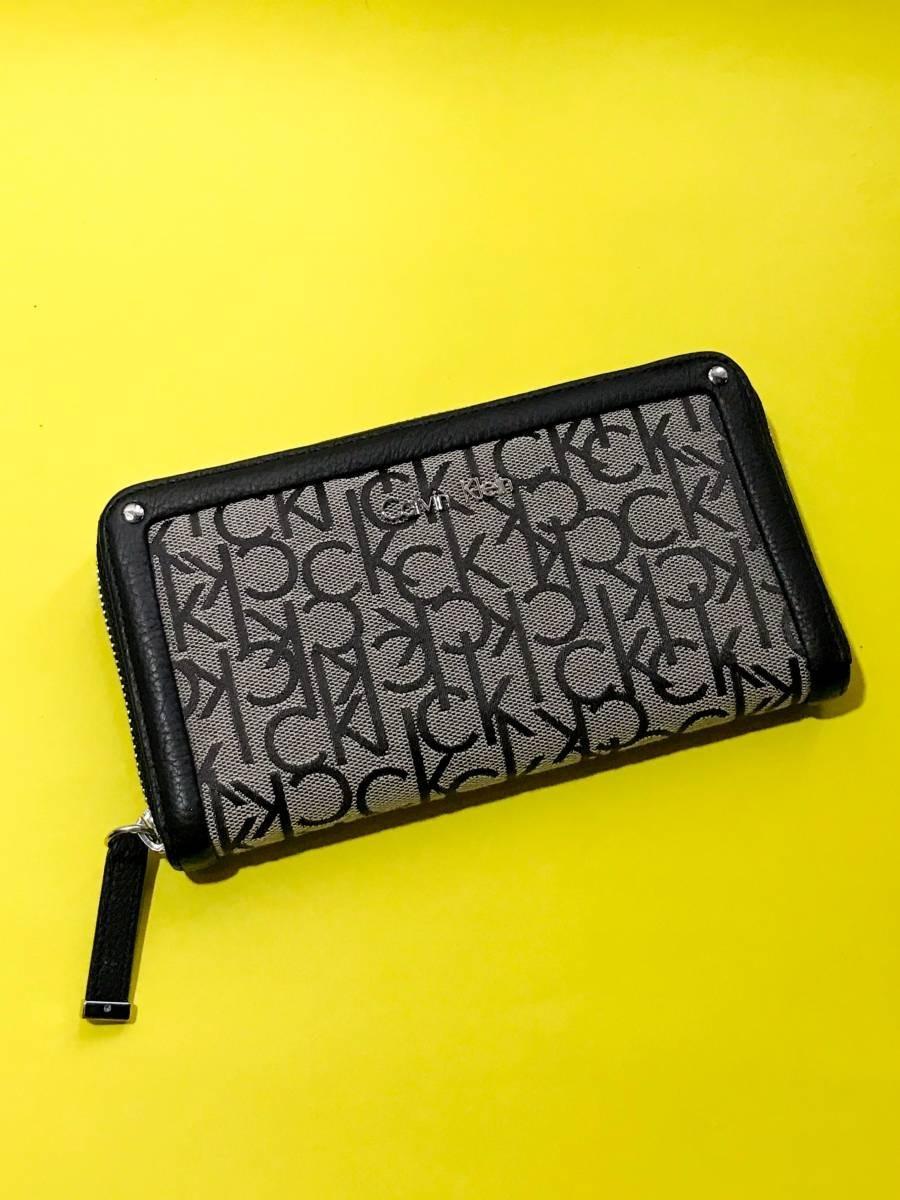 f5486c6d8 carteira calvin klein preta e cinza tecido 100% original. Carregando zoom.